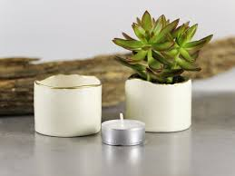 Ceramic Succulent Planter by White Ceramic Planter With Gold Line Minimal Gift Succulent