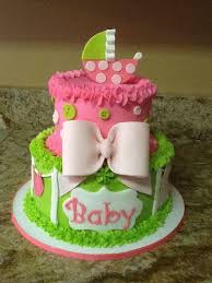 lime green and pink baby shower cake cakes by tara