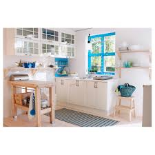 decor teak wood stenstorp kitchen island with white cabinets and