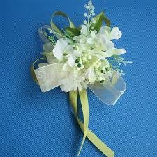 cheap corsages wedding flower boutonniere for the groom artificial silk hydrangea