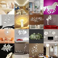 mirror decals home decor fashion silver acrylic 3d mirror effect wall stickers home decor