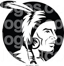 royalty free clip art vector logo of a black and white native