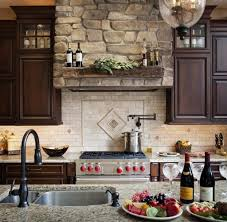 travertine backsplash ideas with stone wall decor for provincial