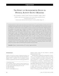 Sho Epoch the effect of accelerometer epoch on pdf available