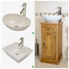 Basin And Toilet Vanity Unit Compact Oak Cloakroom Vanity Unit With Basin Amazon Co Uk