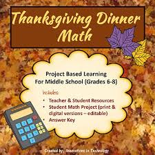 thanksgiving dinner math by innovations in technology tpt