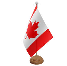 canada table flag with wooden base