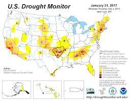 Map If Us U S Drought Monitor Update For January 31 2017 National