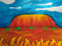 once upon an art room uluru in oil pastel and ink