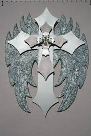 Crosses Home Decor New Angel Wing Fleur De Lis Wall Cross By Dontthrowthataway