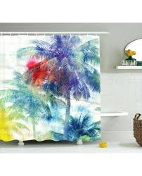 tropical shower curtain tropical shower curtain watercolor palm retro print for bathroom sea life tropical fish