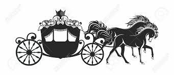 vector luxury horse carriage fantasy princess outline