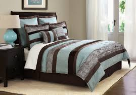 bedroom aqua blue and brown striped bedding set added blue table