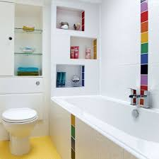 colorful bathroom with yellow flooring also white alcove tub plus