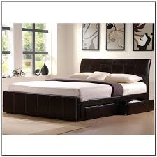 furniture black leather upholstered king size bed frame with 4