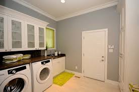 White Laundry Room Wall Cabinets Contemporary Laundry Room With White Painted Frosted Glass Door