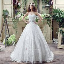 cheap cute a line strapless sweep train lace simple wedding dress