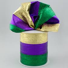 mardi gras ribbon 4 metallic stripe ribbon mardi gras 10 yards rg01404yn