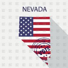 State Of Nevada Map by State Of Nevada Map With Flag And Presidential Day Vote Stamp