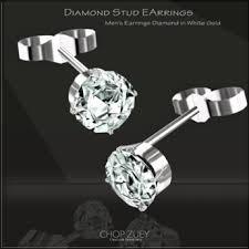 mens diamond stud earrings second marketplace chop zuey men s diamond stud earrings pair