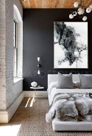 Black And White Bedroom Furniture White Black Grey Abstract Painting Large Canvas Art