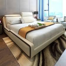 m chambre 1 8 m moderne beige top grain cuir lit mobilier de chambre ce 096