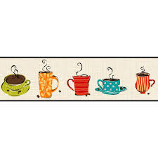 york wallcoverings bistro 750 coffee mug wallpaper border kb8500b