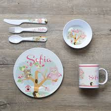 personalized serving plates personalised melamine kids dinner set bowl plate mug cutlery
