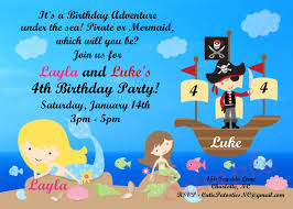 mermaid pirate birthday invitation printable or printed