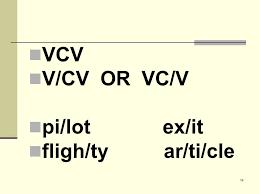 cv v vc dividing words into syllables vc cv v cv vc v v v ppt