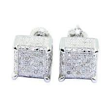 back diamond earrings ct diamond earrings cube shaped square 9mm wide back mens
