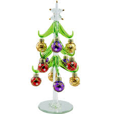 ls arts 6 inch green glass tree with pearled