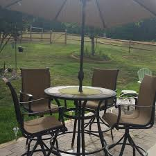 Patio High Table And Chairs Find More Allen Roth Safford 40 In Brown Aluminum Frame Stone