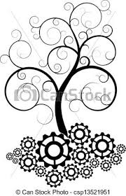 gear spiral tree illustration of black swirl tree with gear clipart