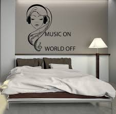Bedroom Ideas For Teenage Girls Black And White Wall Decal Music Headphones Teen Room Art Mural Vinyl