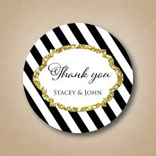 black and white striped sticker gold glitter design personalized