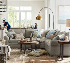 pottery barn livingroom pearce upholstered 3 l shaped sectional with wedge pottery