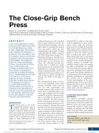 Narrow Grip Bench The Close Grip Bench Press Pdf Download Available