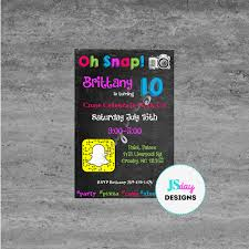 snapchat emoji tween teen birthday invitation cellphone