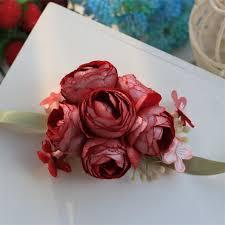 Red Rose Wrist Corsage Aliexpress Com Buy Weddingbobdiy Artificial Rose Wrist Corsage