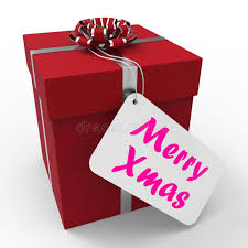 merry gift means happy greetings stock photo image