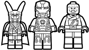 lego iron man vs lego loki vs lego red skull coloring pages