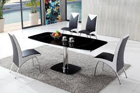 Dining Table And Chairs Glass Dining Table Modenza Furniture - Black and white contemporary dining table