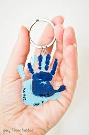 Baby Keychains Diy Handprint Keychain Grey House Harbor