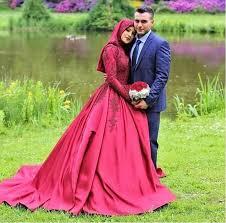 muslim wedding dress vestido novia 2018 sleeve muslim wedding dress fuchsia satin