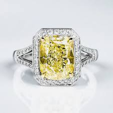 engagement rings diamond fancy light yellow diamond ring cushion 4 15 carat vs2