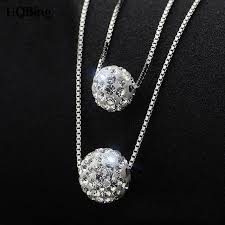 silver ball beads necklace images Korea fashion double chain shambala ball beads necklaces 925 jpg