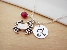Personalized Sterling Silver Necklace Crab Cancer Zodiac Charm Swarovski Birthstone Initial