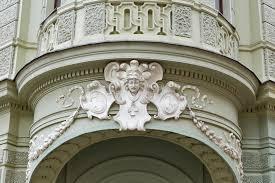 secession style ornament on building ljubljana slovenia stock