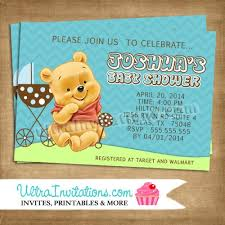 winnie the pooh baby shower invitations baby blue mocha winnie the pooh invites baby shower diy digital or